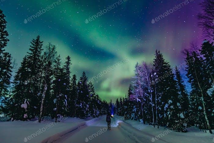 Colorful polar arctic Northern lights Aurora Borealis activity