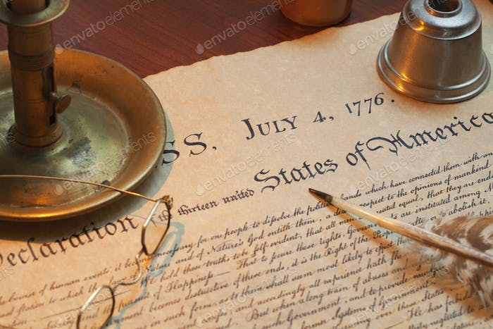 Candle Quill and Inkwell with Declaration of Independence of the United States