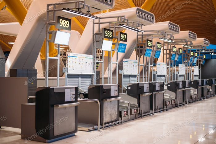 Airport inside terminal and check-in counter