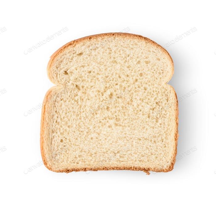 Eine Scheibe Brot isoliert auf weißem Hintergrund.