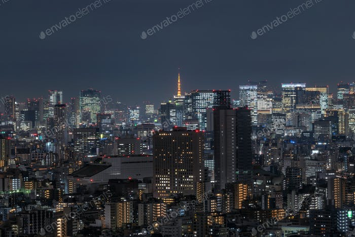 Tokyo cityscape which can see tokyo tower in far away, taking from tokyo sky tree east