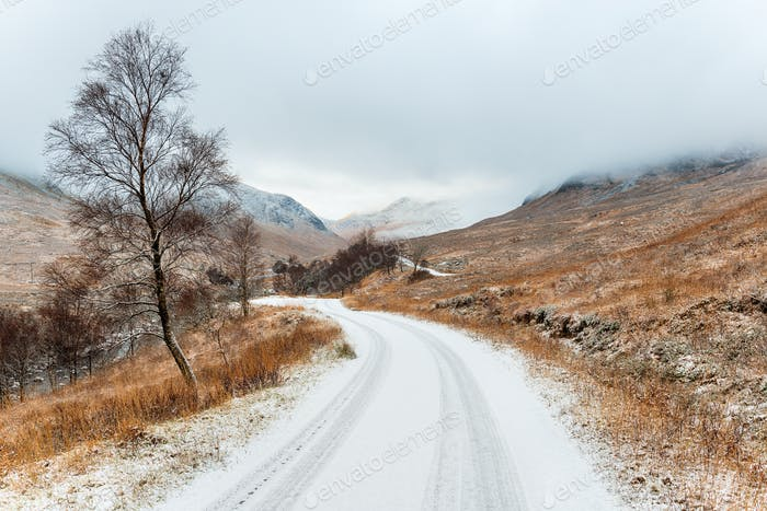Winter at Glen Etive in Scotland