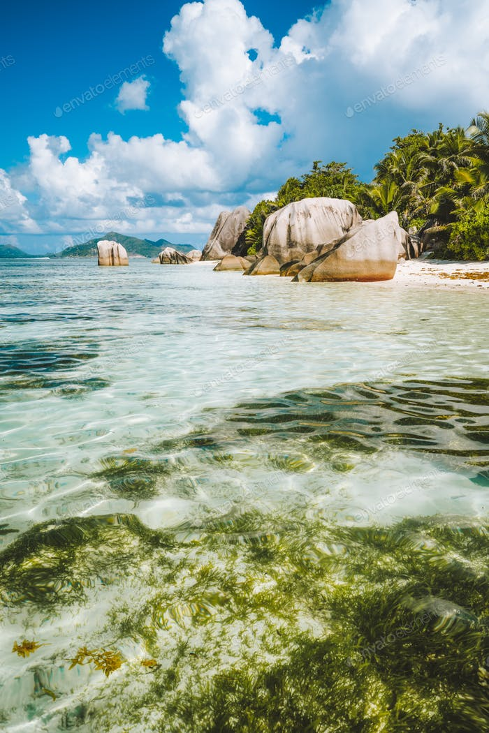 Anse Source d'Argent tropical beach with huge granite boulders on La Digue Island, Seychelles