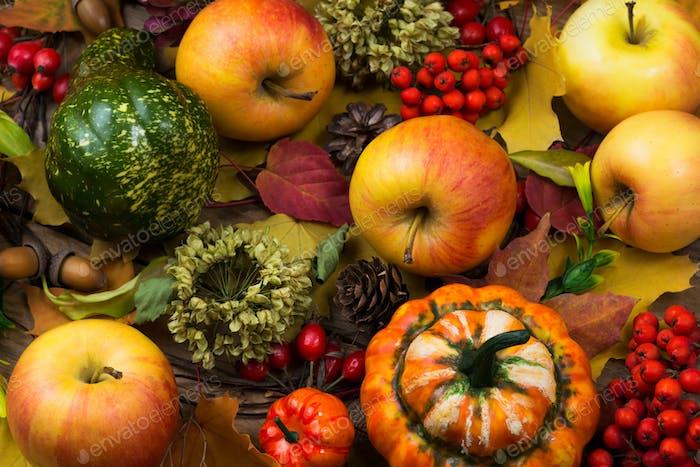 Fall leaves, rowan berries and apples