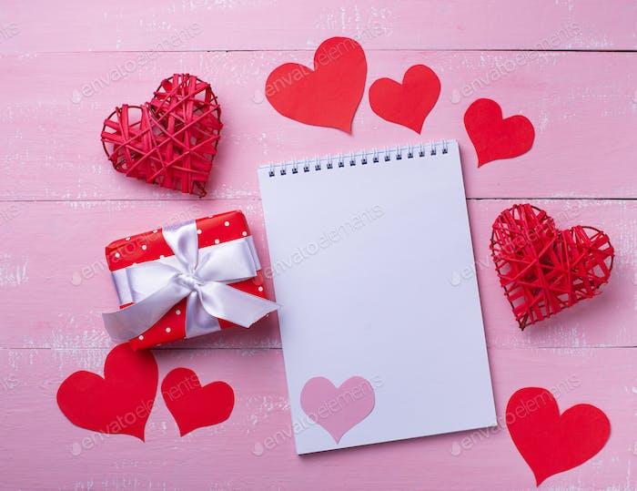 Valentines Day background on pink