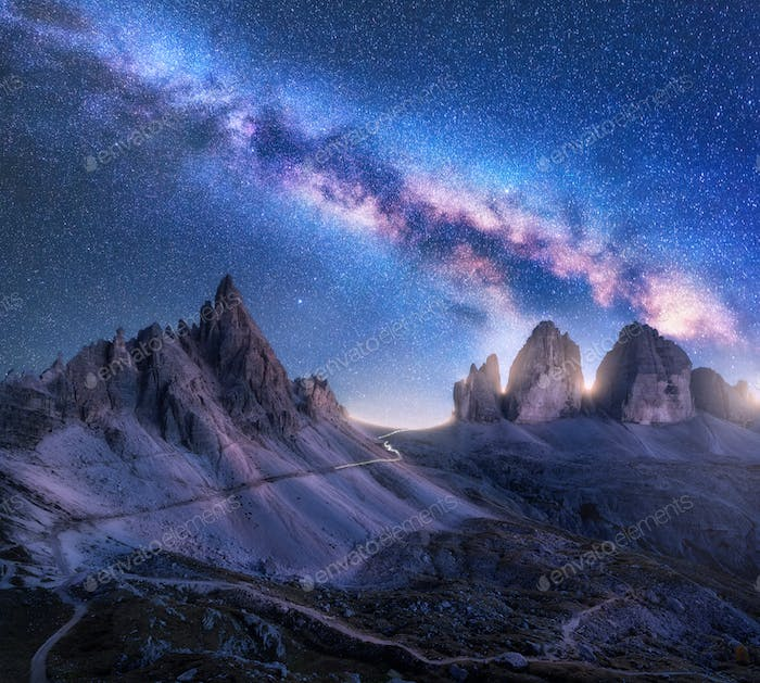 Bright Milky Way over mountains at starry night in summer