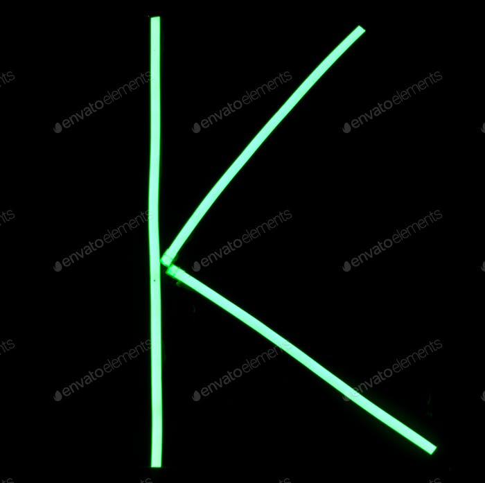 Green neon lights alphabet letters