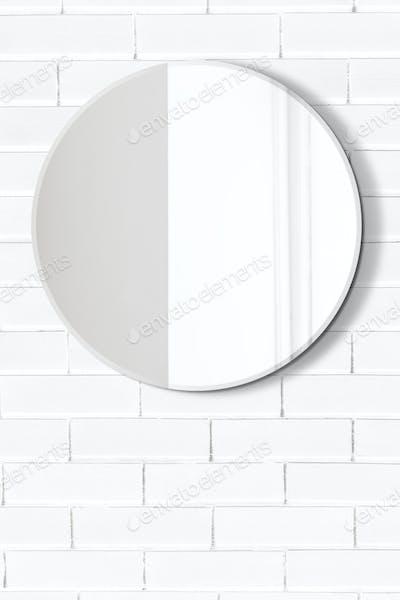 Mirror in a white bathroom mockup
