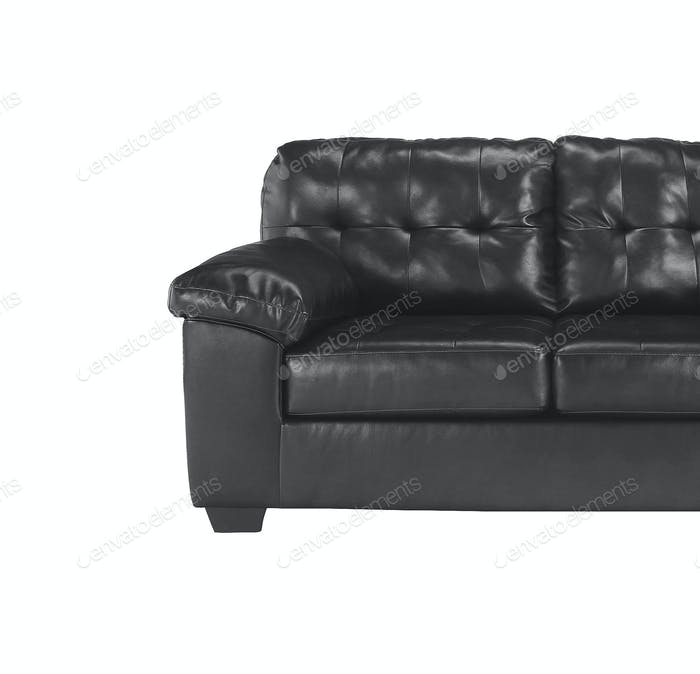 Black sofa close up