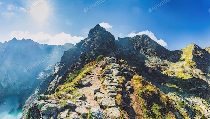 Hiking trail in Tatra mountains in Poland. Toward Koscielec peak