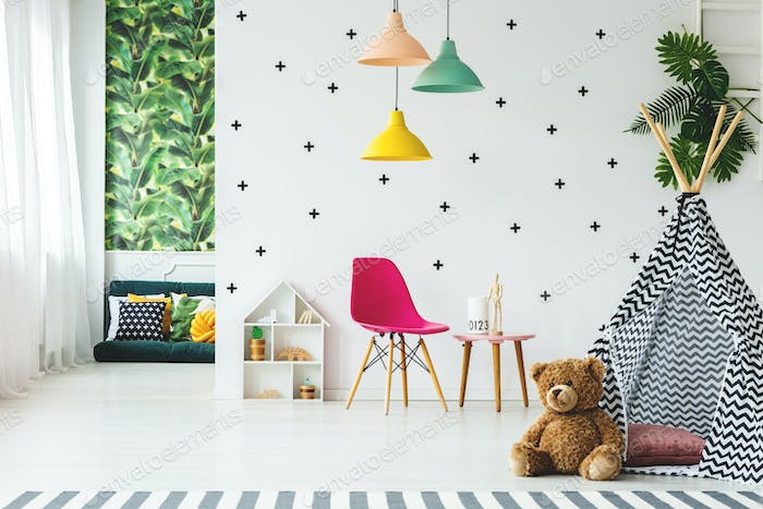Tent in scandinavian child's room