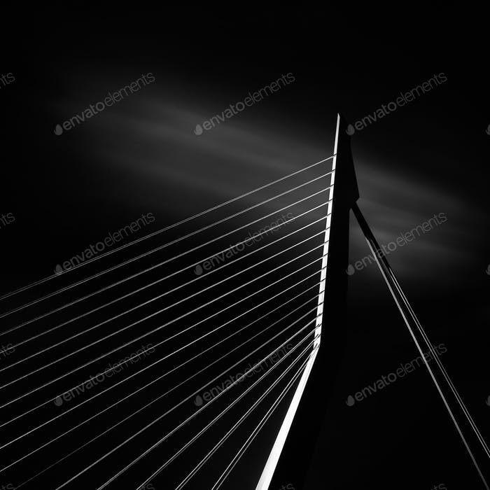 Detail of Erasmus bridge in Rotterdam, Holland.