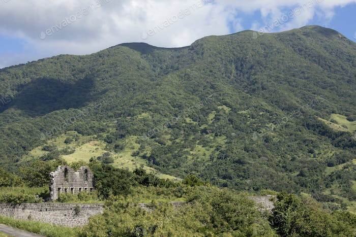 Ruins of ancient fort on the island of St Kitts in the Caribbean