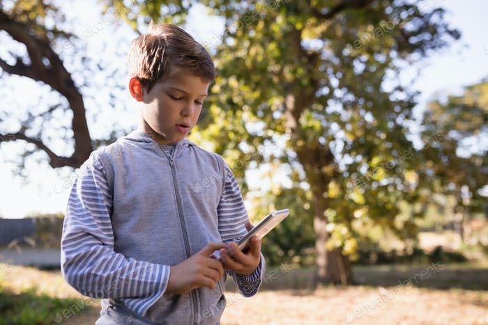 Little boy using mobile phone in forest