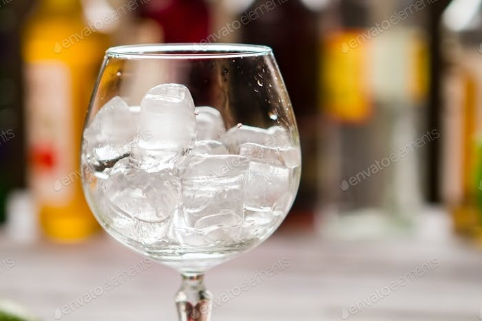 Ice cubes inside wineglass