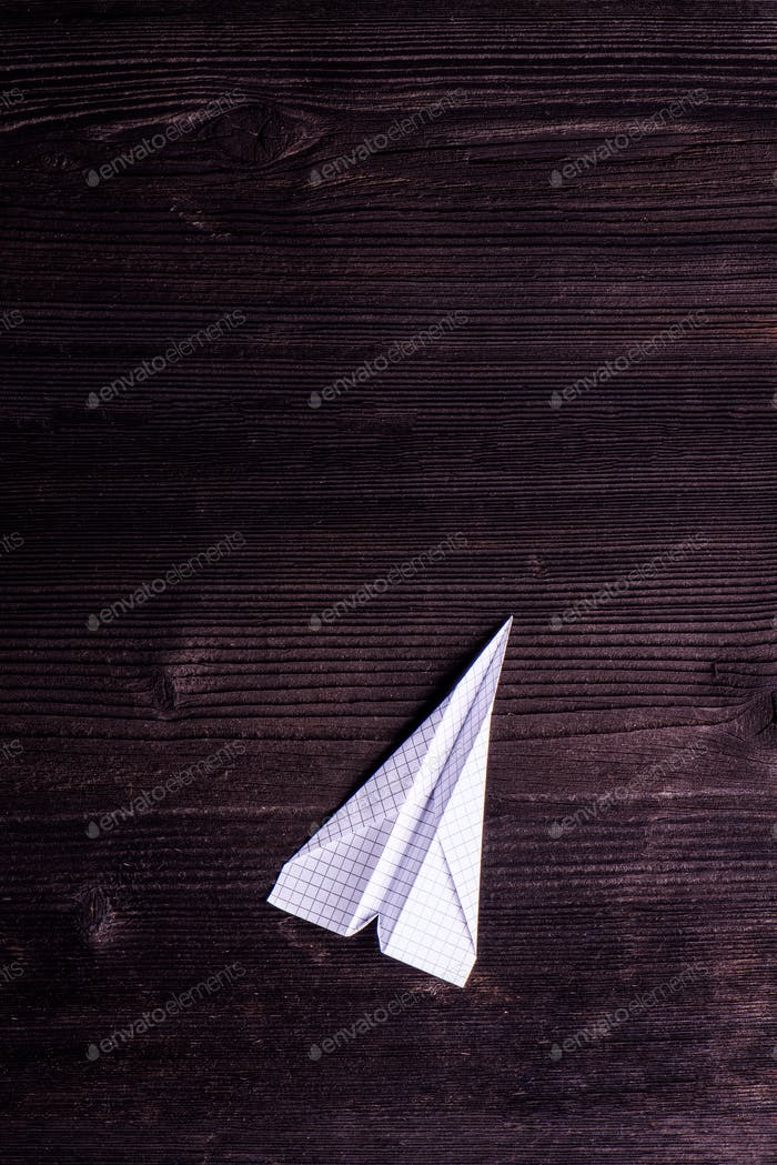 Wooden board background, textured plank, paper airplane, copy sp