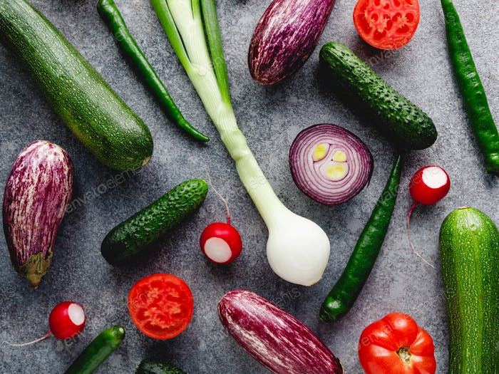Colorful summer pattern with different fresh vegetables