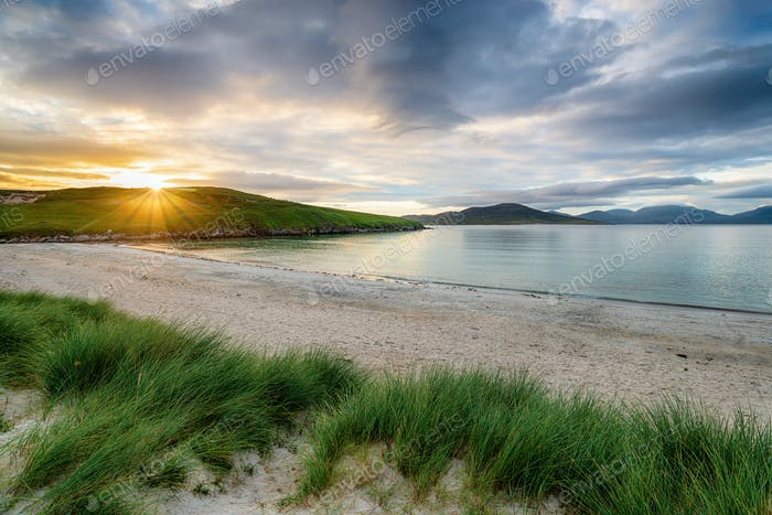 Sunset at Traigh Niosaboist beach on the Isle of Harris
