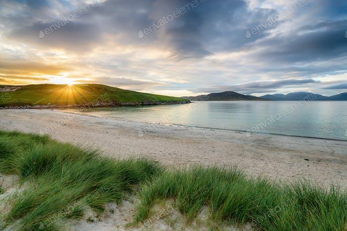 Sunset at Traigh Niosaboist beach on the Isle of Harris