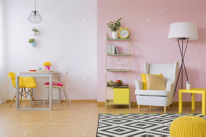 Pink and yellow living room