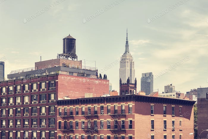 Retro toned picture of old Manhattan buildings, New York.