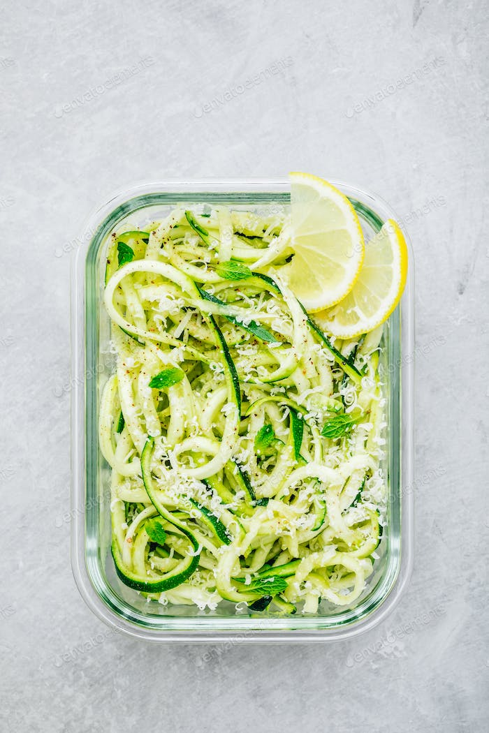 Meal prep lunch box containers Spiralized zucchini noodles pasta