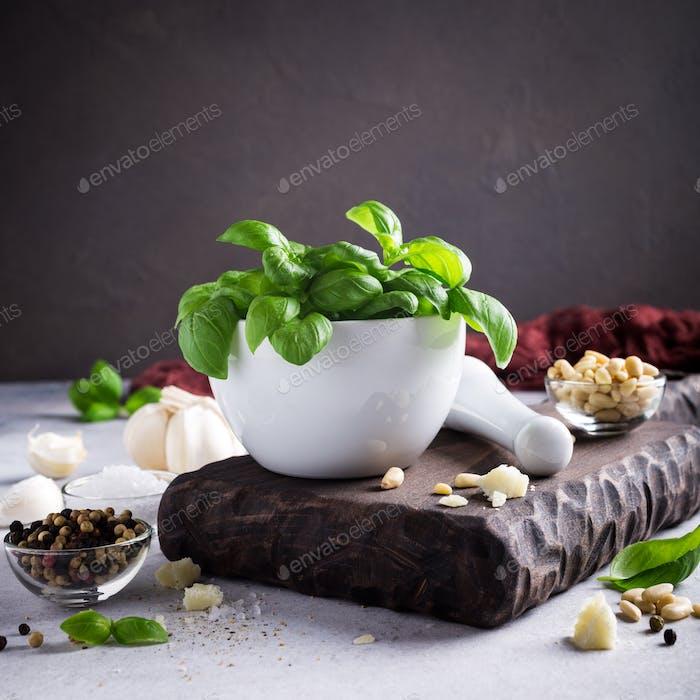 Ingredients for making pesto sauce