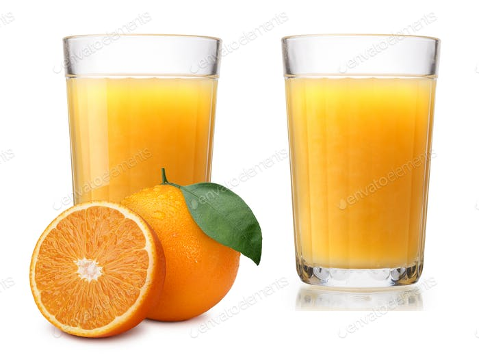 Glasses with fresh orange juice