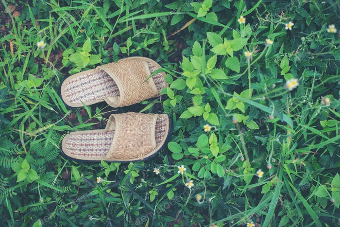 Close up of slippers on grass background, relaxation concept.