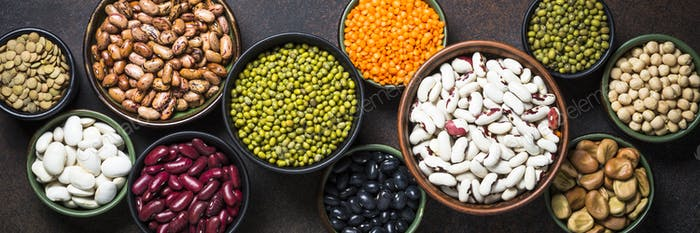 Legumes, lentils, chikpea and beans assortment.
