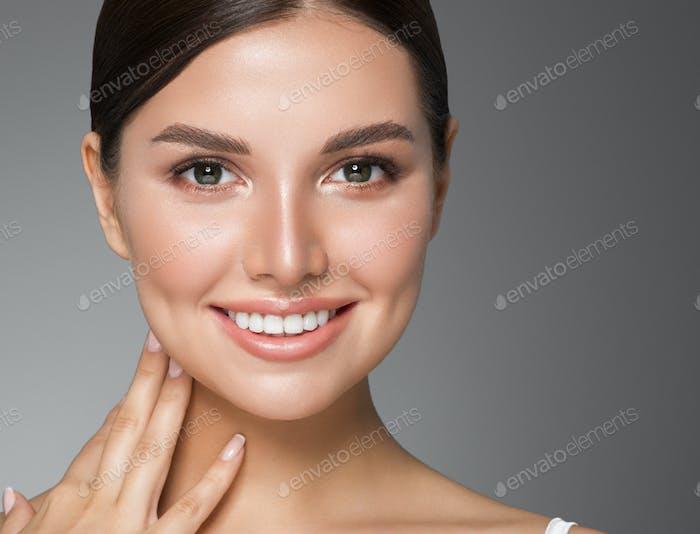 Beauty woman healthy teeth smile healthy beautiful skin model face skin care happy female