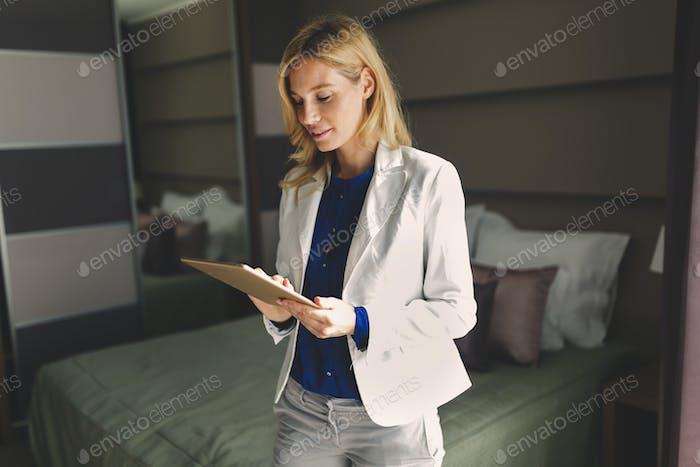 Beautiful blond business woman