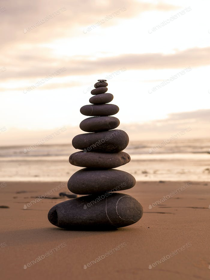 Sea stones stacked