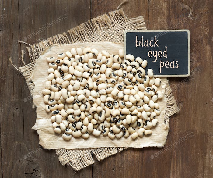 Black eyed peas with small  chalkboard