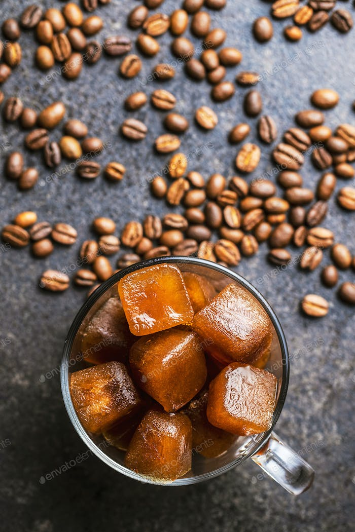 Frozen coffee. Coffee ice cubes.