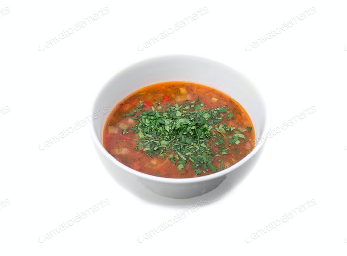 Delicious vegetable red soup.