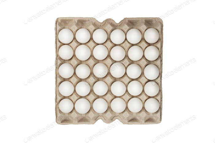 twenty four of white eggs in box