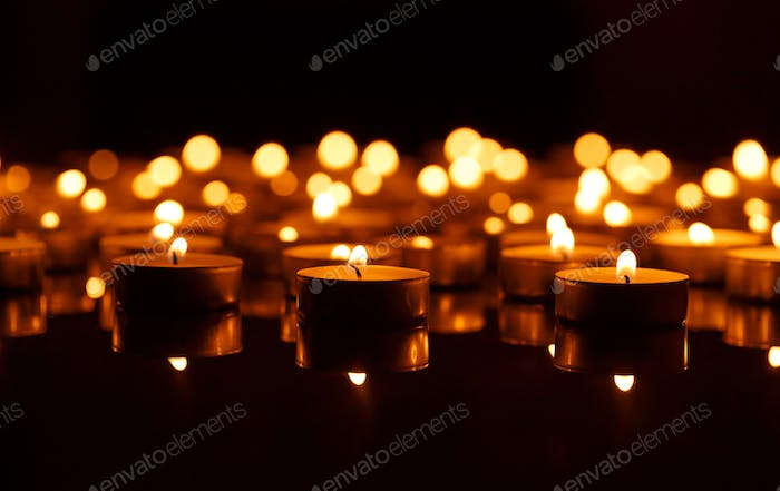 Burning candles with shallow depth of field