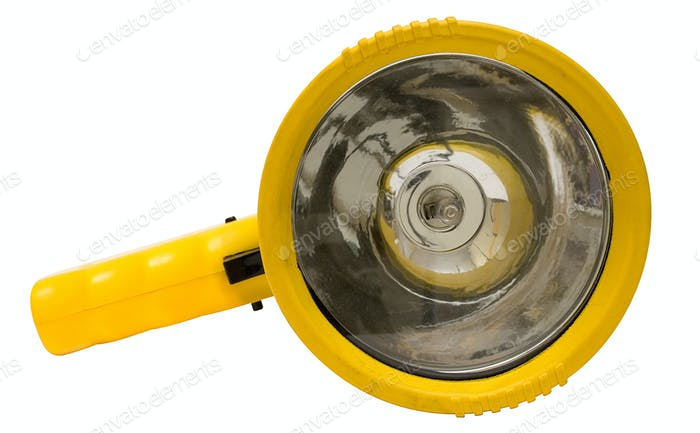 Yellow Torchlight with Clipping Path Isolated on a White Background