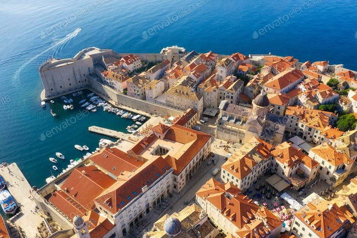 Dubrovnik old town as a background. View from the air