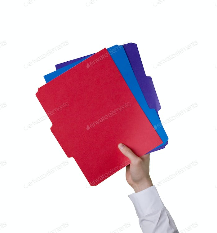 Hand holding a document folders
