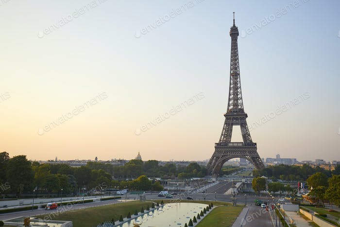 Eiffel tower seen from Trocadero, nobody in a clear summer morning in Paris