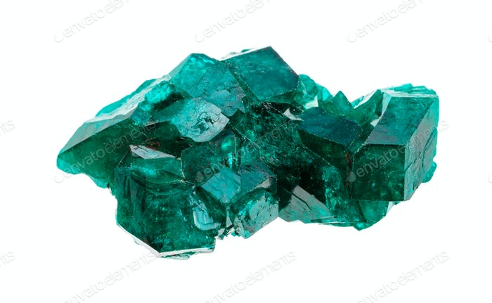 rough emerald-green Dioptase crystals isolated
