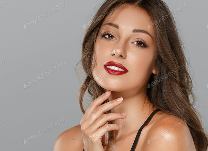 Beautiful woman skin red lips beauty female face smile