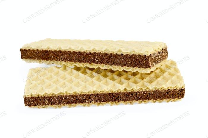 Waffeln mit einer Schicht poröser Schokolade