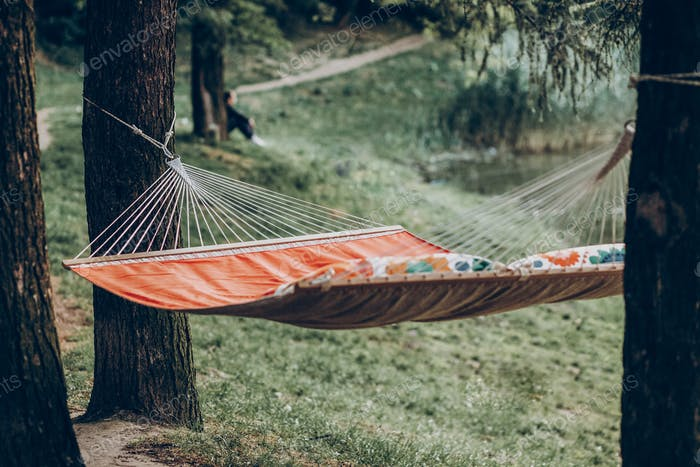 Resting, camping and relaxing outdoor, summer vacation and holiday
