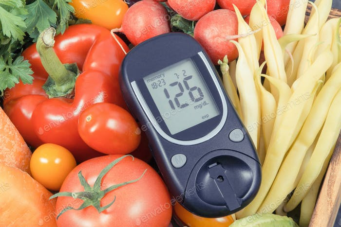 Glucometer with fresh vegetables as source minerals and vitamins