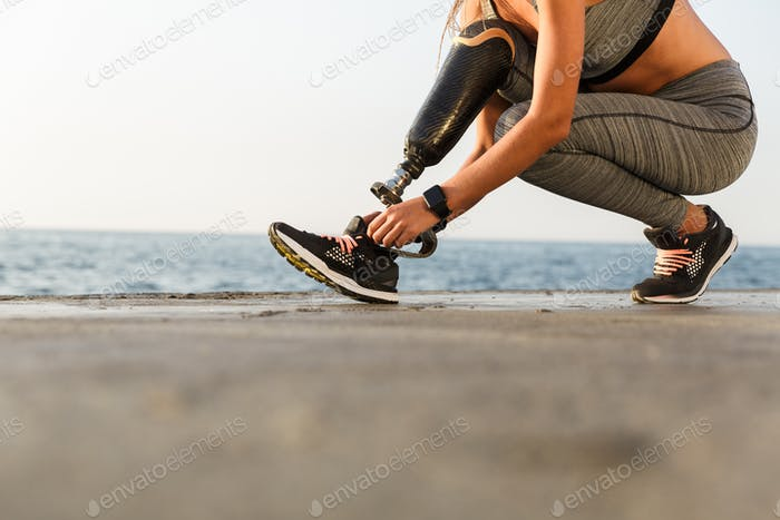Cropped image of disabled athlete