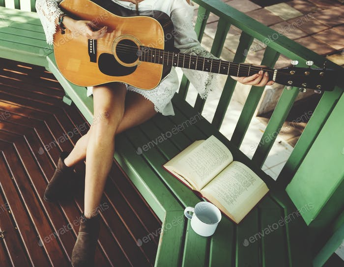 Hippie Guitar Woman Relaxation Concept