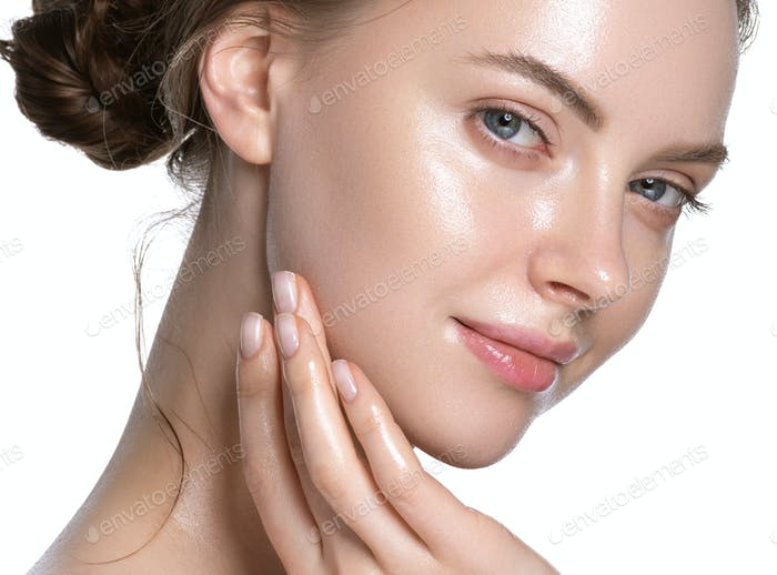 Glamour close up view touching chin young woman healthy hydration clean skin face. Isolated on white